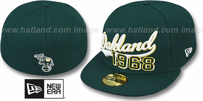 Athletics 'THE BEGINNING' Green Fitted Hat by New Era : pictured without stickers that these products are shipped with