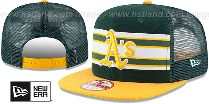 Athletics 'THROWBACK-STRIPE SNAPBACK' Green-Gold Hat by New Era : pictured without stickers that these products are shipped with