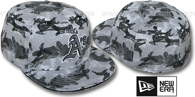Athletics 'THUMBPRINT' Grey Fitted Hat by New Era : pictured without stickers that these products are shipped with