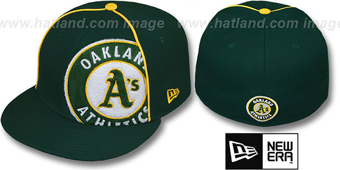 Athletics 'TRIBULATOR' Green Fitted Hat by New Era : pictured without stickers that these products are shipped with