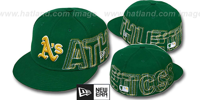 Athletics 'WORD-WRAP' Green Fitted Hat by New Era : pictured without stickers that these products are shipped with