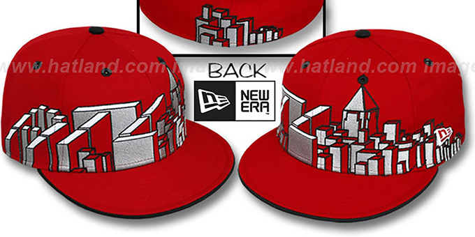Atlanta 'ATL BLOCK CITY-SKYLINE' Red Fitted Hat by New Era : pictured without stickers that these products are shipped with