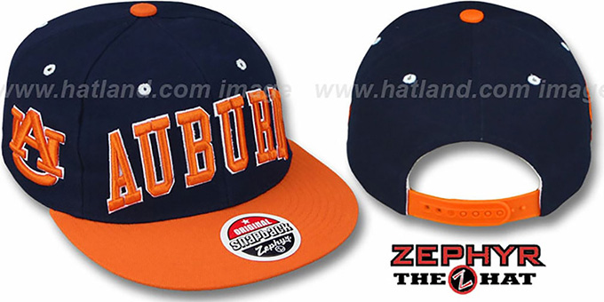 Auburn '2T SUPER-ARCH SNAPBACK' Navy-Orange Hat by Zephyr : pictured without stickers that these products are shipped with