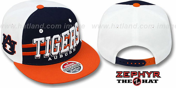 Auburn '2T SUPERSONIC SNAPBACK' Navy-Orange Hat by Zephyr : pictured without stickers that these products are shipped with