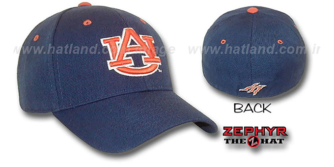 Auburn 'DH' Fitted Hat by ZEPHYR - navy : pictured without stickers that these products are shipped with