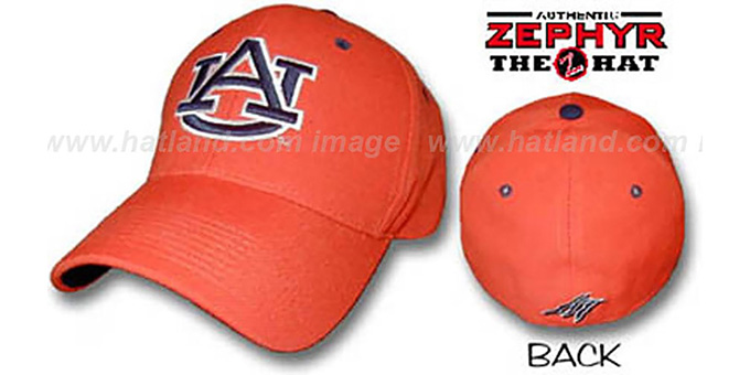 Auburn 'DH' Fitted Hat by ZEPHYR - orange : pictured without stickers that these products are shipped with