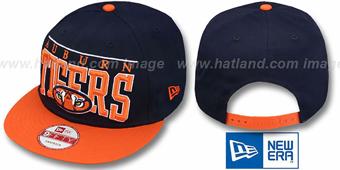 Auburn 'LE-ARCH SNAPBACK' Navy-Orange Hat by New Era : pictured without stickers that these products are shipped with