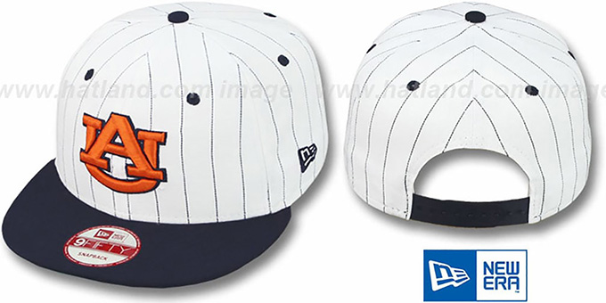 Auburn 'PINSTRIPE BITD SNAPBACK' White-Navy Hat by New Era : pictured without stickers that these products are shipped with