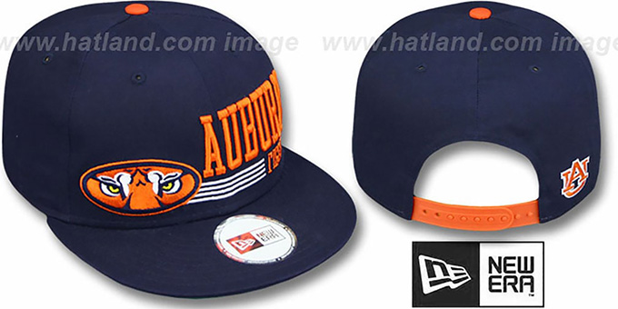 Auburn 'RETRO-SNAPBACK' Navy Hat by New Era : pictured without stickers that these products are shipped with