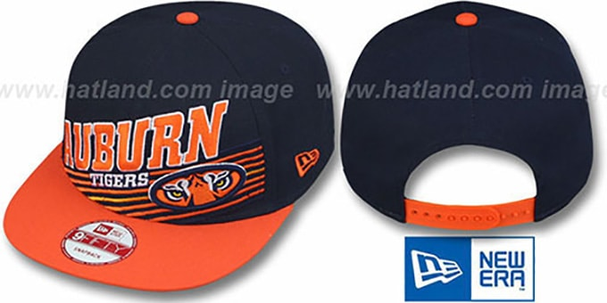 Auburn 'STILL ANGLIN SNAPBACK' Navy-Orange Hat by New Era : pictured without stickers that these products are shipped with