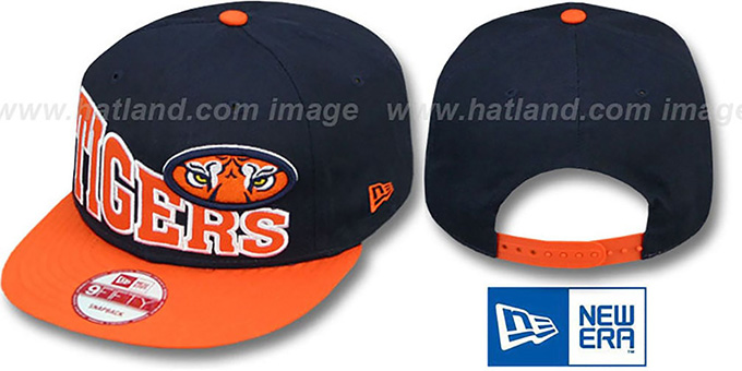 Auburn 'STOKED SNAPBACK' Navy-Orange Hat by New Era : pictured without stickers that these products are shipped with