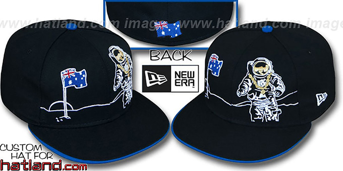 Australia 'MOONMAN' Black Fitted Hat by New Era : pictured without stickers that these products are shipped with