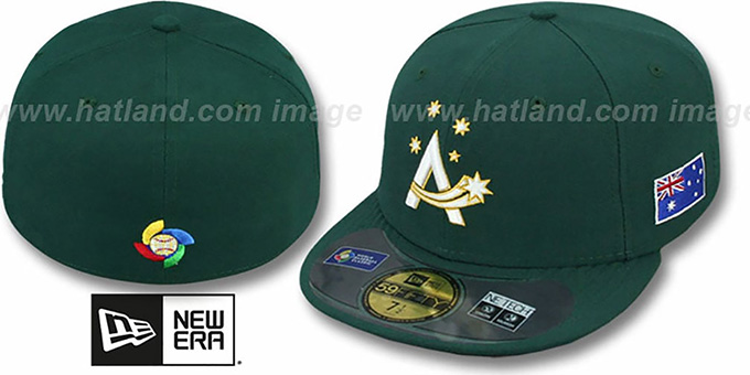 Australia 'PERFORMANCE WBC' Green Fitted Hat by New Era : pictured without stickers that these products are shipped with