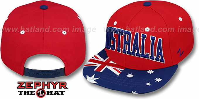 Australia 'SUPERSTAR SNAPBACK' Red Hat by Zephyr : pictured without stickers that these products are shipped with