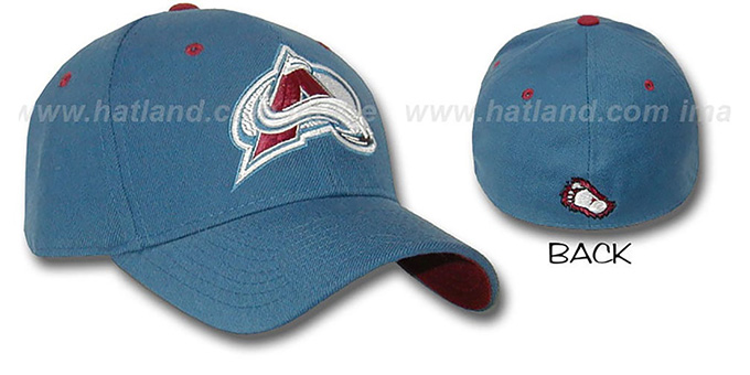Avalanche 'A-FACE-OFF' Avs Blue Fitted Hat by ZEPHYR : pictured without stickers that these products are shipped with