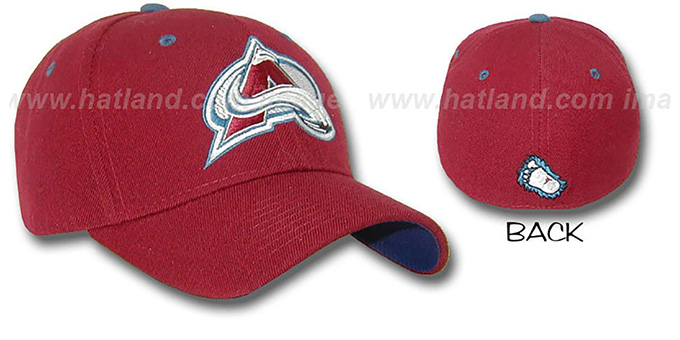 Avalanche 'A-FACE-OFF' Burgundy Fitted Hat by ZEPHYR : pictured without stickers that these products are shipped with