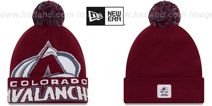 Avalanche 'COLOSSAL-TEAM' Burgundy Knit Beanie Hat by New Era : pictured without stickers that these products are shipped with