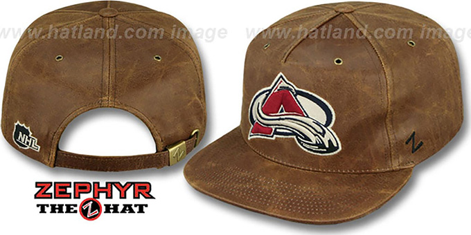 Avalanche 'DYNASTY LEATHER STRAPBACK' Brown Hat Zephyr : pictured without stickers that these products are shipped with