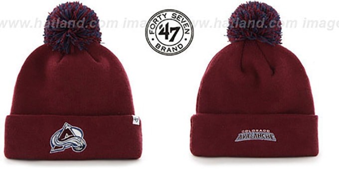 Avalanche 'POMPOM CUFF' Burgundy Knit Beanie Hat by Twins 47 Brand : pictured without stickers that these products are shipped with