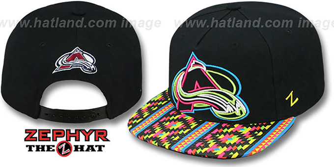 Avalanche 'RAVE-2 SNAPBACK' Black Hat by Zephyr : pictured without stickers that these products are shipped with