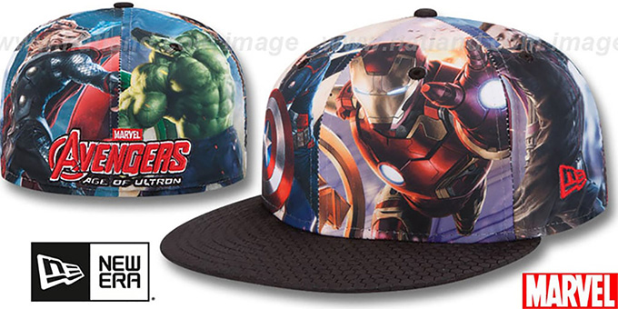 Avengers 'CHARACTER ALL-OVER' Multi-Black Fitted Hat by New Era : pictured without stickers that these products are shipped with