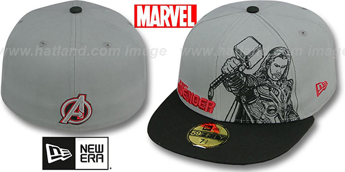 Avengers 'THOR OUTLINE' Grey-Black Fitted Hat by New Era : pictured without stickers that these products are shipped with
