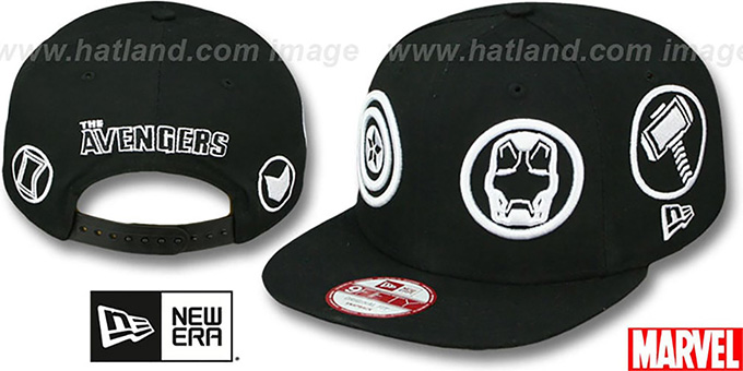 Avengers 'TOTAL-LOGO SNAPBACK' Black Hat by New Era : pictured without stickers that these products are shipped with