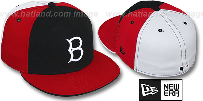 Brooklyn B Dodgers COOP PINWHEEL Black-Red-White Fitted Hat ab200a1f423