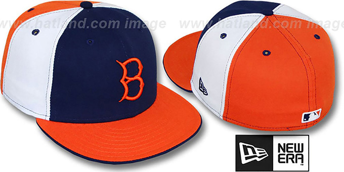 B Dodgers COOP 'PINWHEEL' Navy-White-Orange Fitted Hat by New Era : pictured without stickers that these products are shipped with