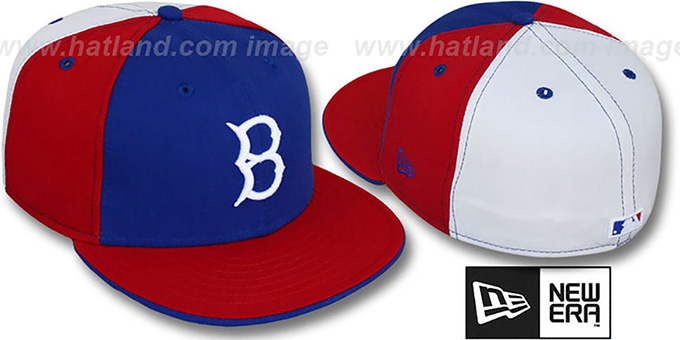 B Dodgers COOP 'PINWHEEL' Royal-Red-White Fitted Hat by New Era : pictured without stickers that these products are shipped with