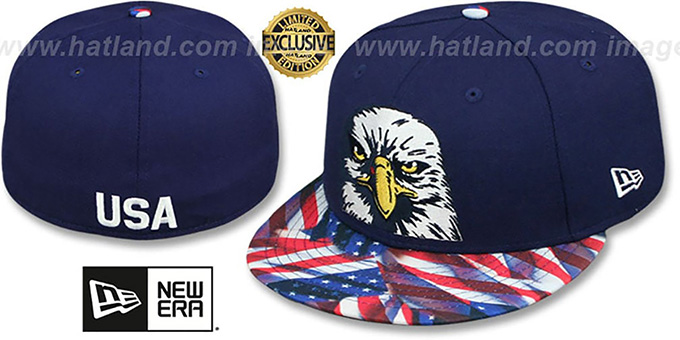 Bald Eagle 'USA WAVING-FLAG' Navy Fitted Hat by New Era : pictured without stickers that these products are shipped with