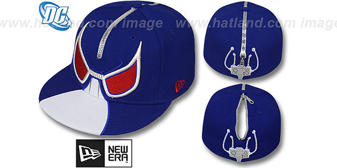 Bane 'ZIPPERHEAD' Royal-White Fitted Hat by New Era : pictured without stickers that these products are shipped with