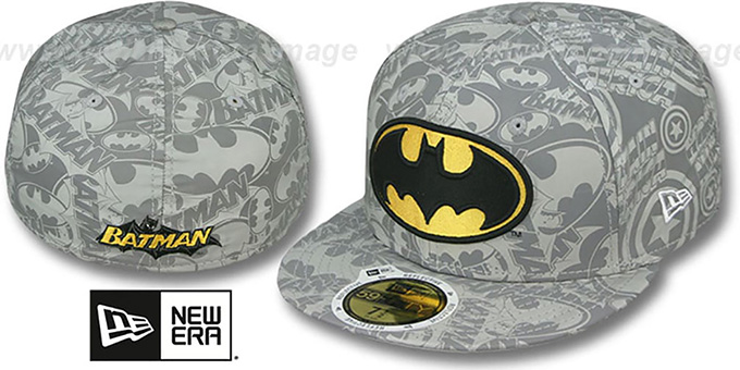 Batman 'COMIC REFLECT' Fitted Hat by New Era : pictured without stickers that these products are shipped with