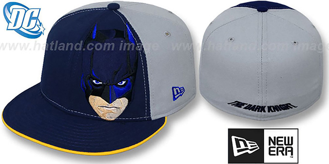 Batman 'DARK KNIGHT FACE' Navy-Grey Fitted Hat by New Era : pictured without stickers that these products are shipped with