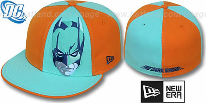 Batman 'DARK KNIGHT FACE' Orange-Green Fitted Hat by New Era : pictured without stickers that these products are shipped with