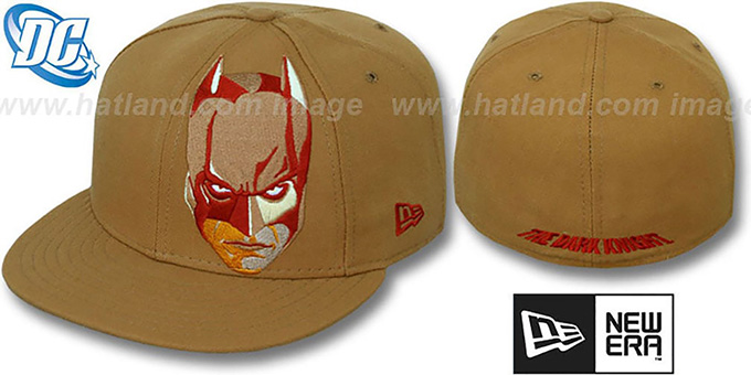 Batman 'DARK KNIGHT FACE' Wheat Fitted Hat by New Era : pictured without stickers that these products are shipped with