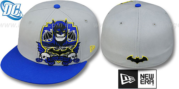 Batman 'DEATHCREST' Grey-Royal Fitted Hat by New Era : pictured without stickers that these products are shipped with