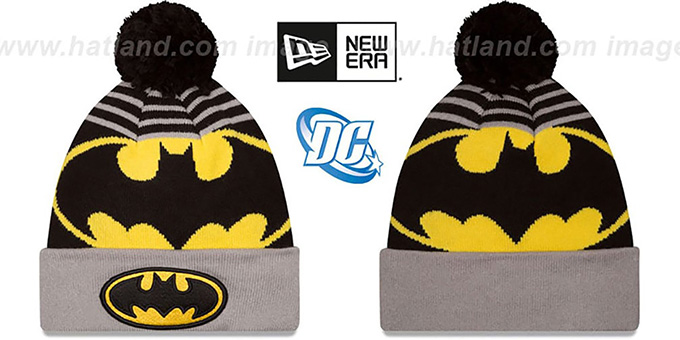 Batman 'LOGO WHIZ' Black-Grey Knit Beanie Hat by New Era : pictured without stickers that these products are shipped with