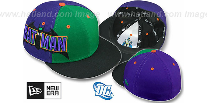 Batman 'TITLE TAG' Green-Purple-Black Fitted Hat by New Era : pictured without stickers that these products are shipped with