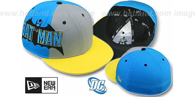 Batman 'TITLE TAG' Grey-Blue-Yellow Fitted Hat by New Era : pictured without stickers that these products are shipped with
