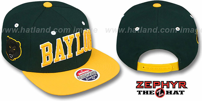 Baylor '2T SUPER-ARCH SNAPBACK' Green-Gold Hat by Zephyr : pictured without stickers that these products are shipped with