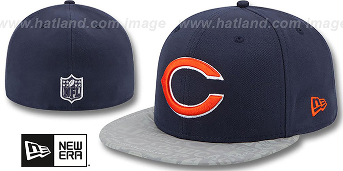 Bears '2014 NFL DRAFT' Navy Fitted Hat by New Era : pictured without stickers that these products are shipped with