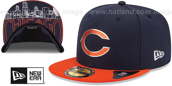 Bears '2015 NFL DRAFT' Navy-Orange Fitted Hat by New Era : pictured without stickers that these products are shipped with