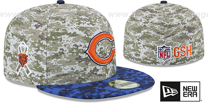 Bears '2015 SALUTE-TO-SERVICE' Desert-Navy Fitted Hat by New Era : pictured without stickers that these products are shipped with