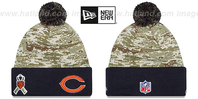 Bears '2015 SALUTE-TO-SERVICE' Knit Beanie Hat by New Era : pictured without stickers that these products are shipped with