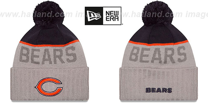 Bears '2015 STADIUM' Grey-Navy Knit Beanie Hat by New Era : pictured without stickers that these products are shipped with