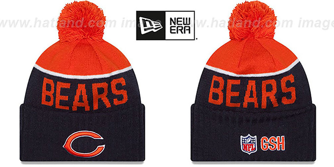 Bears '2015 STADIUM' Navy-Orange Knit Beanie Hat by New Era : pictured without stickers that these products are shipped with
