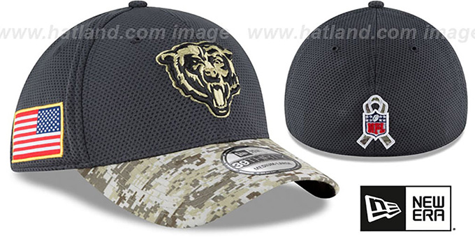 Bears '2016 SALUTE-TO-SERVICE FLEX' Grey-Desert Hat by New Era : pictured without stickers that these products are shipped with