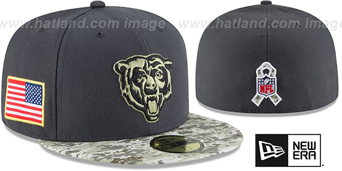 Bears '2016 SALUTE-TO-SERVICE' Grey-Desert Fitted Hat by New Era : pictured without stickers that these products are shipped with
