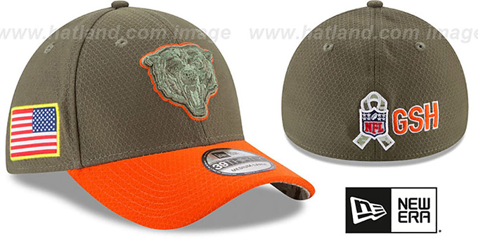 Bears '2017 SALUTE-TO-SERVICE FLEX' Green-Orange Hat by New Era : pictured without stickers that these products are shipped with